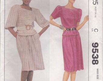80s Blouse & Skirt Pattern McCalls 9538 Sizes 14 Uncut