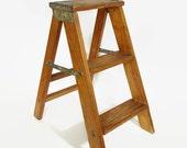 Rustic Wooden Step Ladder Vintage Stool Farm House