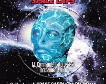 Vintage Star Trek The Next Generation Playmates Space Caps Trading Card 1994 Lt Commander LaForge As Tarchannen 3 Alien  No 27 - Paramount