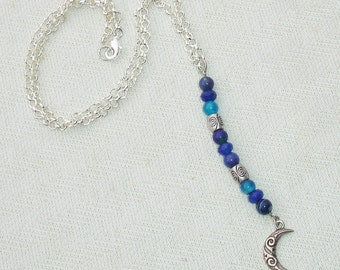 Sterling Silver Ornate Moon with Blue Gemstones Celestial Necklace - Handmade