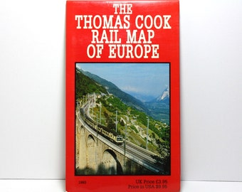 Europe Map, Thomas Cook Rail Map of Europe, 1993 Vintage Map, Collectible Map, Travel by Train, Paper Ephemera