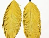 Marigold - Feather Earrings, Lambskin Leather, Leather Earrings, Leather Feather Earrings, Boho, Yellow Earrings, Bohemian, Buttercup