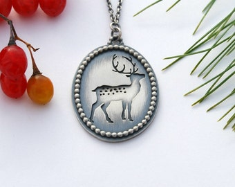 Deer necklace - sterling silver deer and antlers necklace