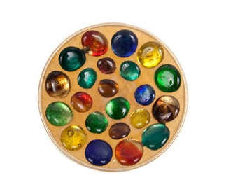 Vintage Mosaic Art Glass Stained Glass Bowl Blown Glass Cabochons Jeweled Dish Multicolored Gems Jewel Tone Décor Rainbow Plate