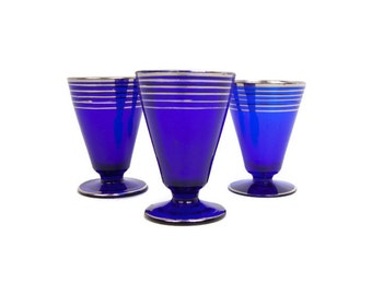 Antique Czech Crystal Cordials Cobalt Blue Bohemia Crystal Silver Stripes Czechoslovakia Blown Glass Footed Shot Glasses Mad Men Barware