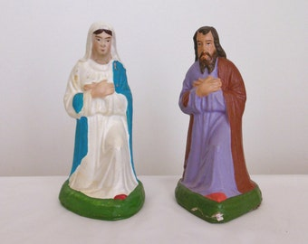 Christmas German Nativity Figurines Mary and Joseph Vintage Holy Family for Creche Manger