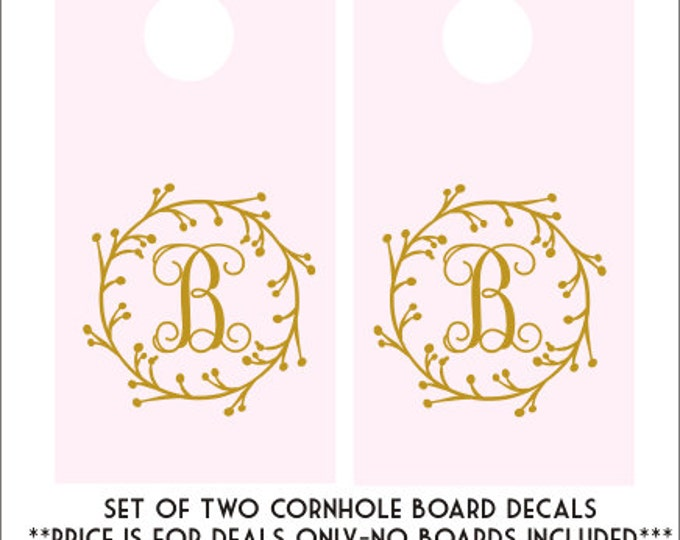 Wedding Cornhole Decals Cornhole Board Decals Set of Two Decals DIY Wedding Decals Rustic Wedding Grapevine Monogram Decals Initial Decals