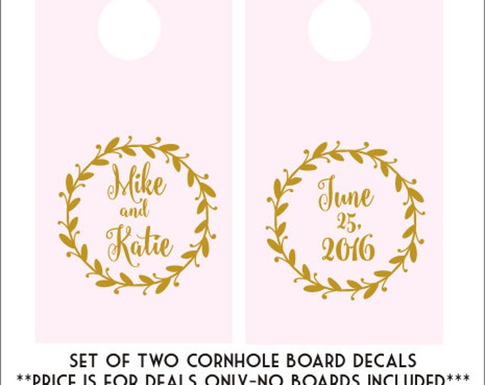 Wedding Cornhole Decals Cornhole Board Decals DIY Wedding Decor Rustic Wedding Decals Rustic Wedding Decor Trendy Gold Decals Blush Gold