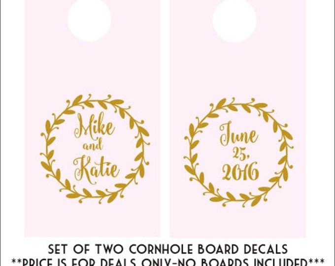 Wedding Cornhole Decals Cornhole Board Decals DIY Wedding Decor Rustic Wedding Decals Rustic Wedding Decor Trendy Gold Decals Blush Gold