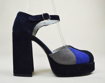 90s Grunge Dolly Blue Suede Navy Colourblock Ankle Strap Round Toe Chunky Heel Mary Jane Platform Sandals UK 4 / US 6.5 / EU 37