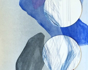 Abstract watercolor art mixed media paper collage blue