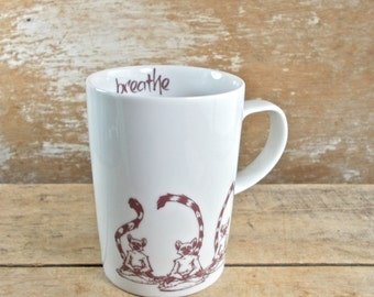 Breathe Mug, Meditating Lemurs, DISCOUNTED SECOND,  Om, Omkara, Large Cappuccino Cup, Tea Cup, 18 oz Coffee Mug,  Ready to Ship