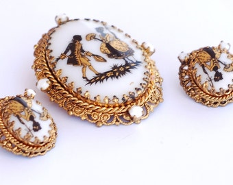 West Germany Victorian Cameo Brooch Earring Set
