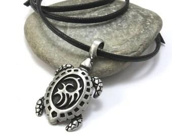 Tribal Turtle Necklace, Large Sea Turtle Pendant w/ Custom Cord