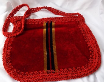 Vintage Italian Red Velvet Shoulder Bag