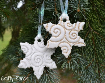 Silver and Gold Swirl Embossed Snowflake Ornaments