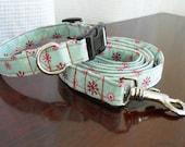 Snowflake dog collar and leash - christmas or holiday, matching