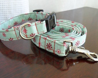 Snowflake dog collar and leash - christmas or holiday, matching