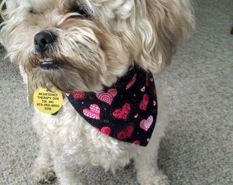 Heart Dog Bandana - Black with hearts, over the collar, Cat Bandana