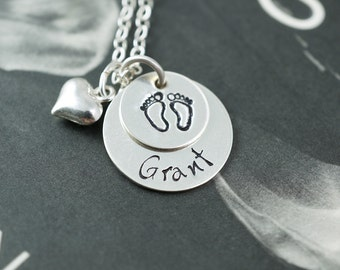 Baby feet necklace, Heart charm, Expecting mom gift, Kids names, Newborn gift, Children names, Personalized round tag