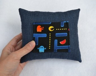 PacMan tooth fairy pillow, handmade cotton fabric and denim for girls boys kids children gamer cartoon character gift for birthday get well