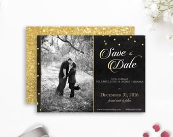 Gatsby Save-the-Date, Black Gold Photo Save the Date, New Year's Eve Save-the-Date, Great Gatsby Wedding Save the Date