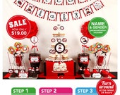Red Sweet Lady Bug Baby Shower Package Personalized FULL Collection Set - PRINTABLE DIY - BS815CB1x
