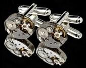 Watch Movement Cufflinks with Rubies/ Silver Plated/ Clock Cufflinks/ Watch Cufflinks/ Steam Punk Cufflinks/ Gold Cufflinks/ Christmas Gift