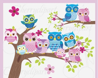 Owl Family 2-Colorful Owl Digital Clip Art-Spring Animals clip art-Personal and Commercial Use