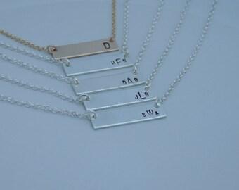 Monogrammed Bar Necklace - Sterling Silver - Gold - Rose Gold - Minimalist - Monogrammed Jewelry - Bar Necklace - Horizontal Bar