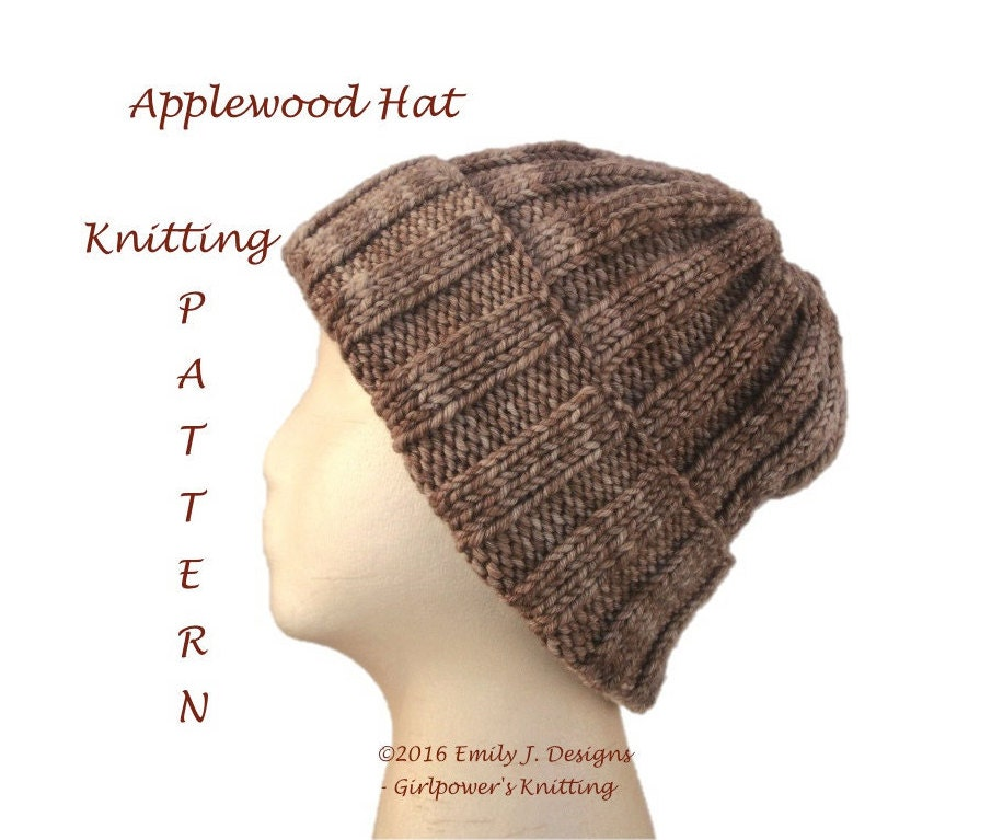 Knitting Pattern For Ribbed Beanie : Ribbed Beanie Knitting Pattern Knit Hat Pattern Quick Easy