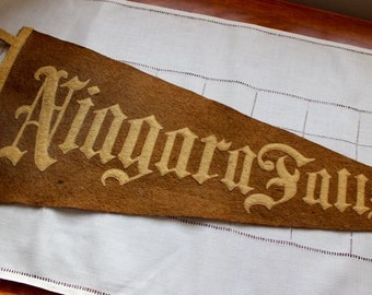 Vintage Pennant Niagara Falls Wool Felt Stitched Letters Antique Brown