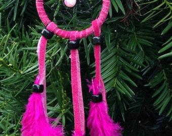 Dream catcher hot pink buckskin suede