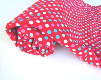Red Polka Dot Blanket || Teal Polka Dot Blanket with Aqua Minky