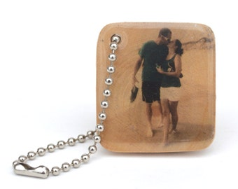 Personalized photo keychain photo gift 5th anniversary gift wooden photo personalized for him personalized graduation wooden anniversary