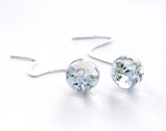 Real Forget-me-not earrings - Flowers in resin ball - blue pastel globe earrings