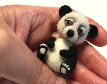 Panda Bear, Miniature, Toy, Collectible Toy, CUSTOM ORDER ONLY by Marina Lubomirsky