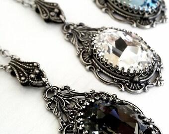 Victorian Necklace Swarovski Crystal Necklace Bridal Necklace Silver Filigree Necklace Bridesmaid Gift Idea