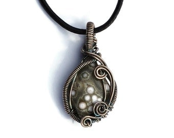 Ocean Jasper Pendant in Dark Patina Silver / Sterling Silver Wire Wrap / Natural Stone Necklace / Grey and White Stone Pendant
