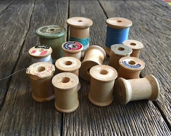 14 Vintage Wooden Thread Spools Sewing Thread Spools Wood Spools For Decor