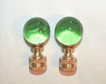 Pair Emerald Green Glass Ball Finials Brass Ferrules