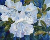 White Azaleas Flower Art Print Watercolor Floral Giclee by Janet Zeh