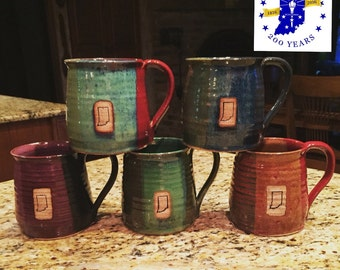 Indiana Coffee Mug - Custom Stamped - 16 oz - Choose color - State of Indiana stamp image - Made To Order- ceramics - pottery - stoneware