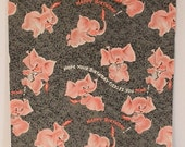 Vintage 1950s PINK ELEPHANTS Birthday Wrapping Paper Gift Wrap (Single Unused Sheet)  Possibly DENNISON