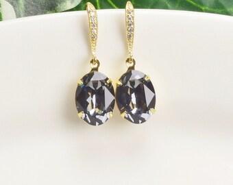 Charcoal Gray Earrings - Swarovski Earrings Gold - Bridesmaid Earrings - Crystal Drop Earrings - Wedding Jewelry - Gifts for Bridesmaids