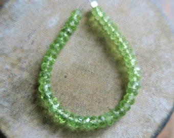 "Stunning AAA Faceted Peridot Rondelle Beads 4.5mm, 4.25"" Strand"
