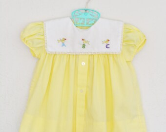 Baby Dress Vintage 50s 60s 70s Pastel Yellow