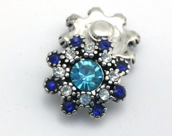 1 PC - 18MM Blue White Flower Rhinestone Silver Charm for Candy Snap Jewelry KC9608 Cc2162