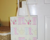 Shopping bag, tote bag, market tote, shopping tote, library bag - pink wellies/rain boots print
