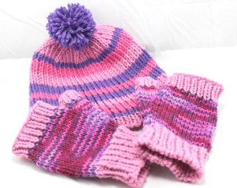 Pink & Purple Wombo Combo - Hat with Fingerless Mittens